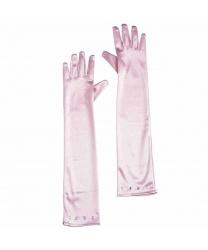 Розовые перчатки со стразами (детские)