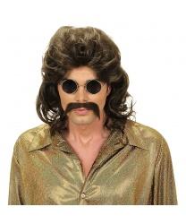 Мужской парик с усами в стиле 70-х