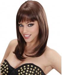 Коричневый парик с челкой