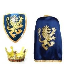 Синяя накидка, корона и щит рыцаря