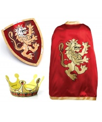 Красная накидка, корона и щит рыцаря
