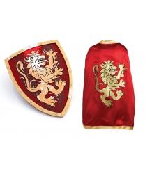 Красная накидка и щит рыцаря
