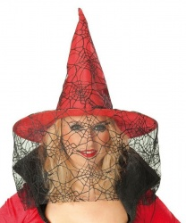 Красный колпак с вуалью-паутиной