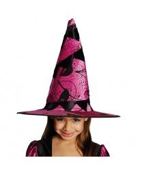 Детский колпак ведьмы, розовый с черным узором