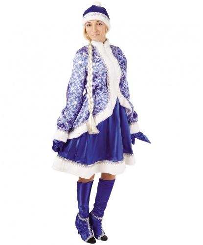 Костюм Снегурочка сказочная: кафтан, юбка, шапка, варежки, коса, имитация сапог (Россия)