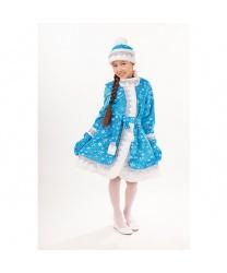 Костюм Снегурочка в голубом: головной убор, шуба, пояс (Россия)