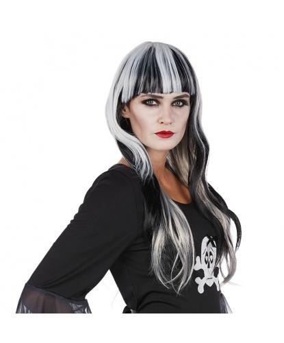 Черно-белый парик с челкой: белый, черный (Германия)
