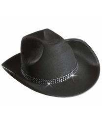 Черная ковбойская шляпа с имитацией страз