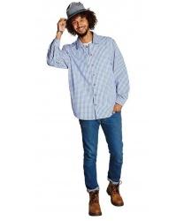Мужская голубая рубашка в клетку виши