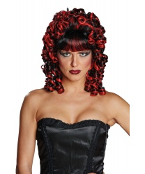 Кудрявый черно-красный парик