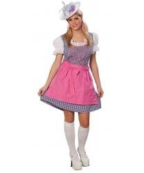 Платье баварки с розовым фартуком