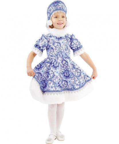 Детский костюм Зимушка Гжель: платье, кокошник (Россия)