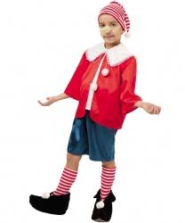 Детский костюм Буратино: рубашка, шорты, колпак, нос, обувь с гетрами (Россия)
