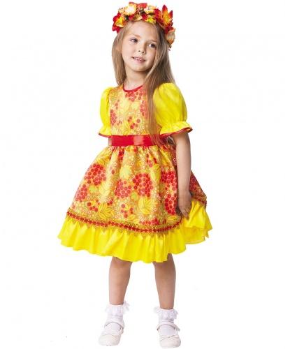 Детский костюм Осень Хохлома: платье, венок на голову (Россия)