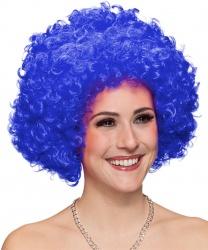 Синий кудрявый парик