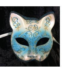 """Венецианская маска """"Кот"""", голубая"""