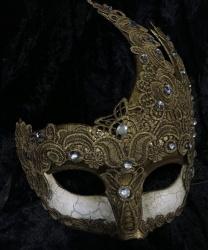 Ассиметричная маска украшенная кружевом, бронзовая