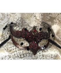 Карнавальная маска volpina с вуалью, бордовая