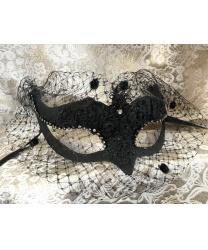 Карнавальная маска volpina с вуалью, чёрная