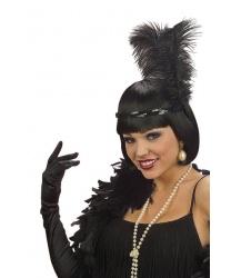 Ободок на голову с перьями (черный)