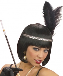 Ободок на голову с перьями (серебряный)