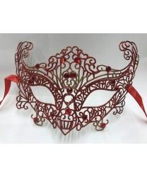 Карнавальная, ажурная маска (красная)