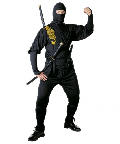 Взрослый костюм Ниндзя: кофта, брюки, маска, пояс, повязки на ноги (Италия)