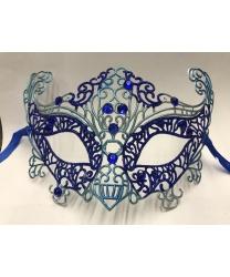 Карнавальная, ажурная маска (синяя)