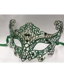 Карнавальная, ажурная маска (зеленая)