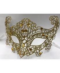 Карнавальная, ажурная маска (золотая)