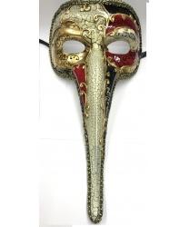 Венецианская маска с носом (черно-красная)