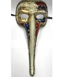 Венецианская маска с носом (красно-синяя)