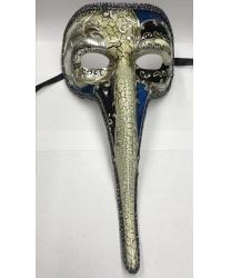 Венецианская маска с носом (черно-синяя)