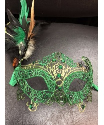 Карнавальная ажурная маска с перьями (зелёная), ленты, стразы, пластик, перья (Италия)