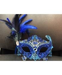 карнавальная ажурная маска (синяя)