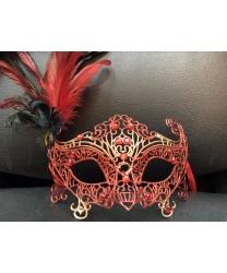 Карнавальная ажурная маска (красная)