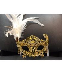 карнавальная ажурная маска с перьями (золотая)