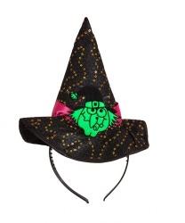 """Колпак """"Зеленая ведьма"""" на ободке"""