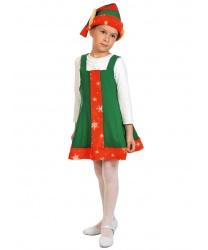 Костюм новогоднего эльфа для девочки: сарафан, колпак (Россия)