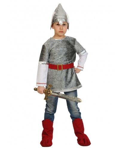 Костюм Богатырь Алёшка: кольчуга с рукавами, шлем, пояс, сапоги, меч (Россия)