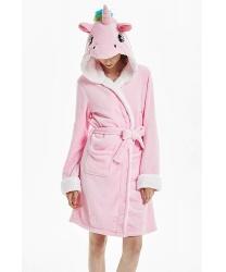 Халат розового единорога: халат с капюшоном, пояс (Китай)