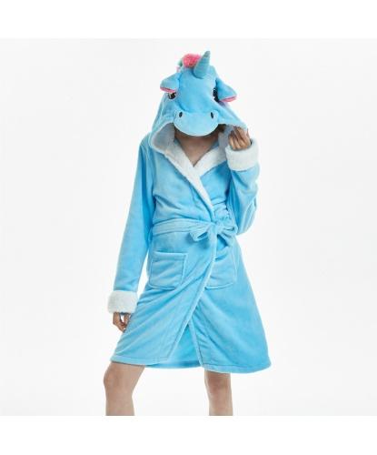 Халат голубого единорога: халат с капюшоном, пояс (Китай)