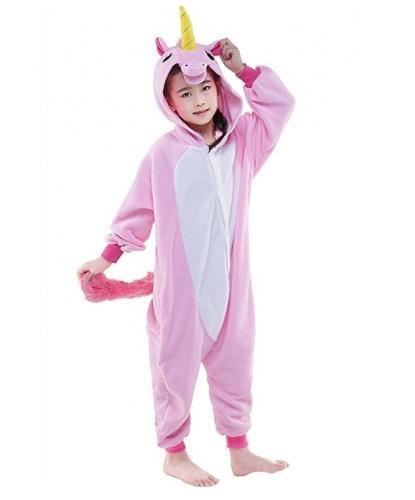 Детский кигуруми розового единорога: комбинезон с капюшоном (Китай)