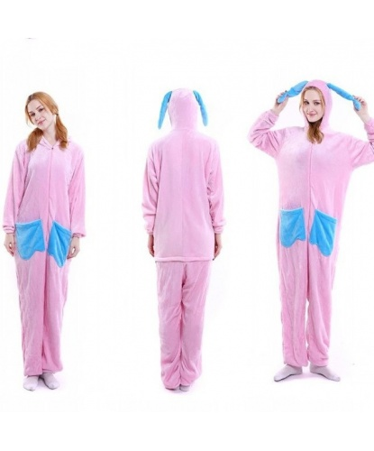 Кигуруми розового кролика: комбинезон с капюшоном (Китай)