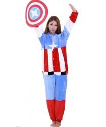 Кигуруми Капитана Америки: комбинезон с капюшоном, щит из ткани (Китай)