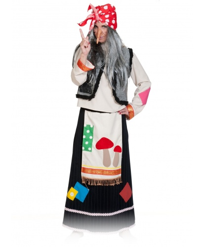 Костюм Бабы Яги: рубаха, юбка с фартуком, нос, платок с прядями волос, жилет с горбом (Россия)