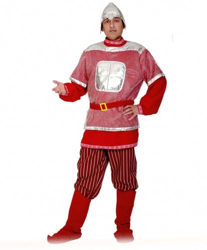 Костюм Богатыря: рубаха с кольчугой, штаны, пояс, плащ, накладки на обувь, шлем (Россия)