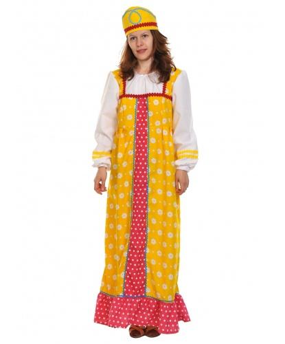 Костюм Алёнушки в жёлтом : сарафан, кокошник (Россия)