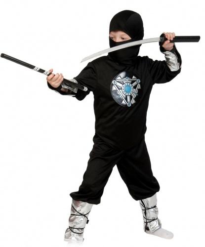 Костюм Ниндзя чёрный: брюки, кофта, шапочка, меч (Россия)