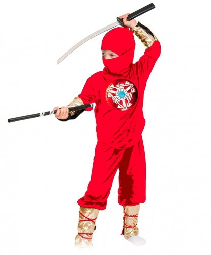 Костюм ниндзя красный: брюки, кофта, шапочка, меч (Россия)